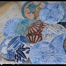 Jill-mcdowell-stencilgirl-crest-stencil-atc-artist-trading-coins